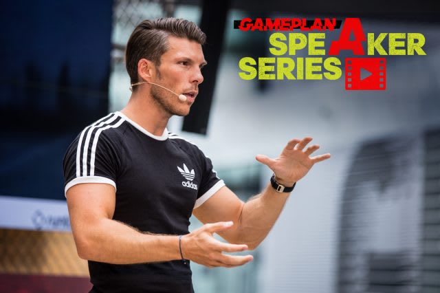 Runtastic CEO Florian Gschwandtner wearing black t-shirt talking on stage, Runtastic CEO_entrepreneur_career_talk_adidas_GamePlan A