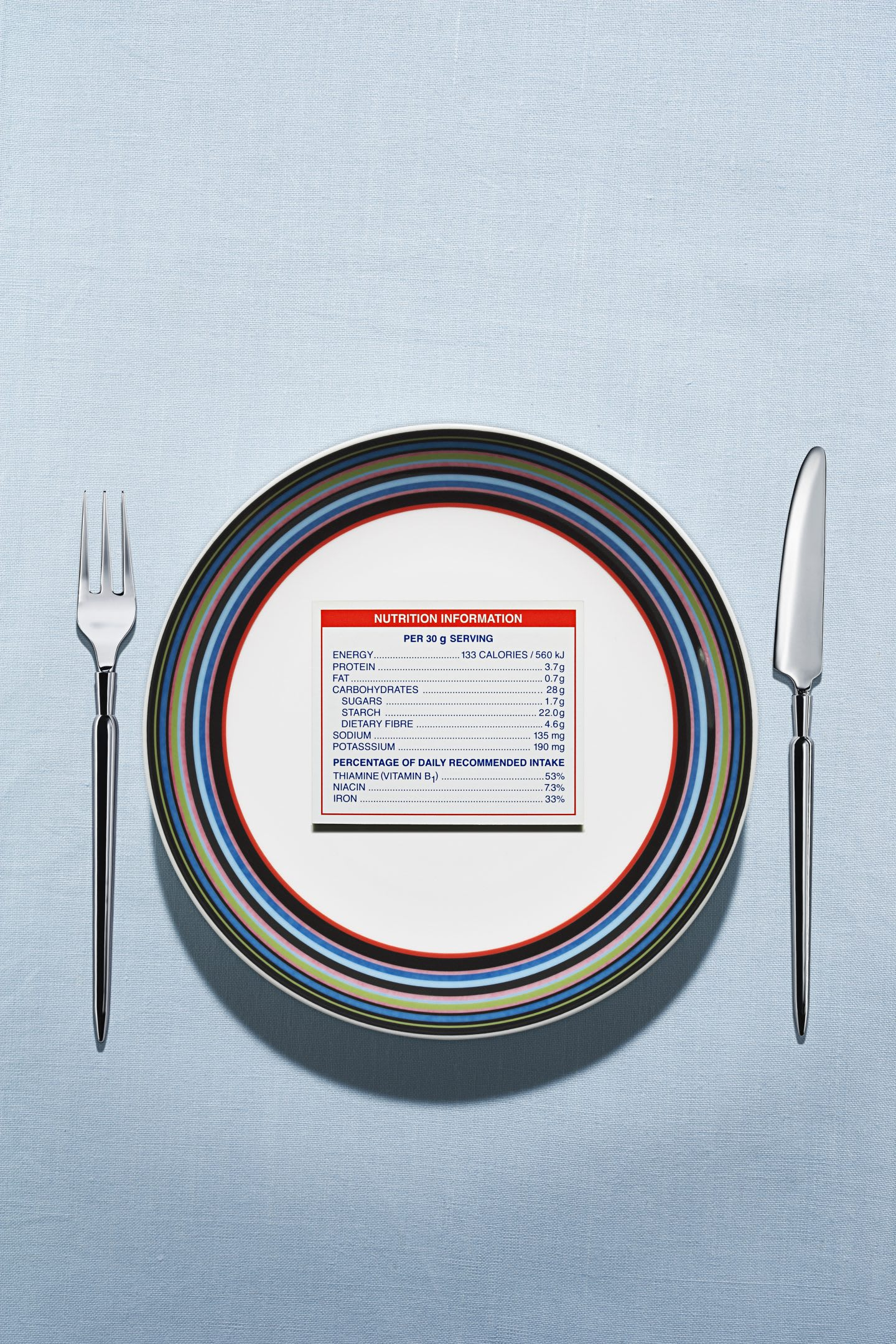 Nutrition label on plate in table setting, nutrition, health, GamePlan A, adidas, fitness, business