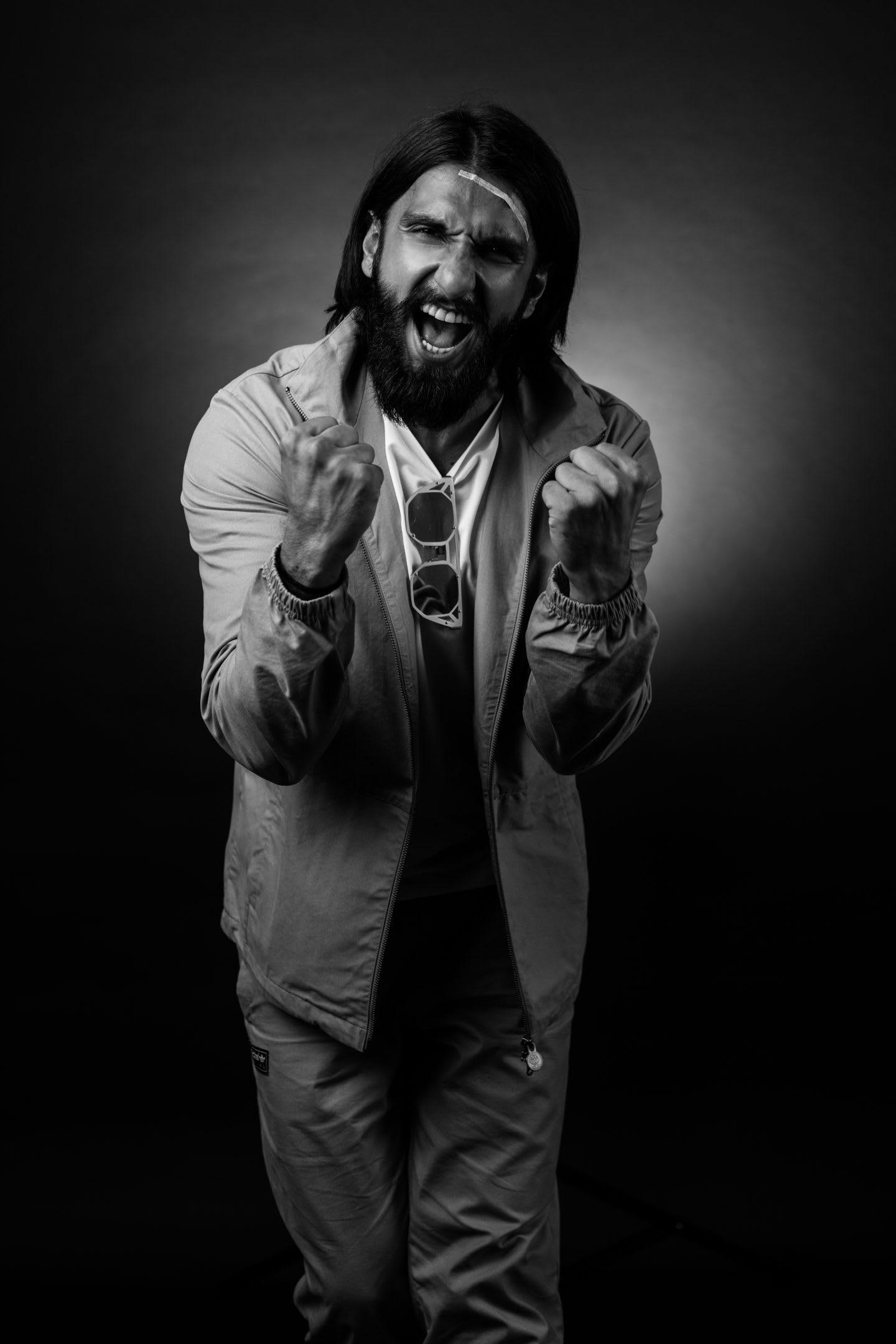 Bollywood actor Ranveer Singh cheering black and white shot_adidas_Interview_GamePlanA, success, career