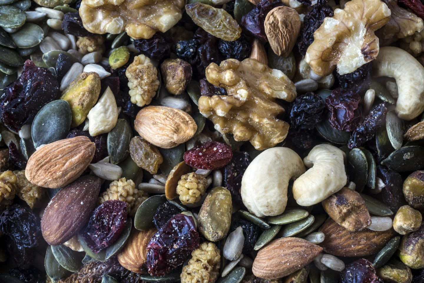 Walnuts, flaxseeds, cashews, almonds, raisins,