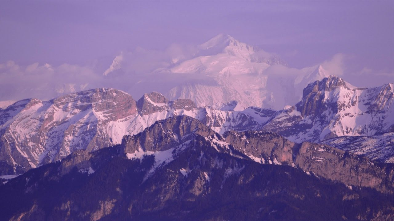 Mountain panorama with snow in purple light, Mont Blanc_Mountaineering_Adventure, adidas, Marcus Leach, nature