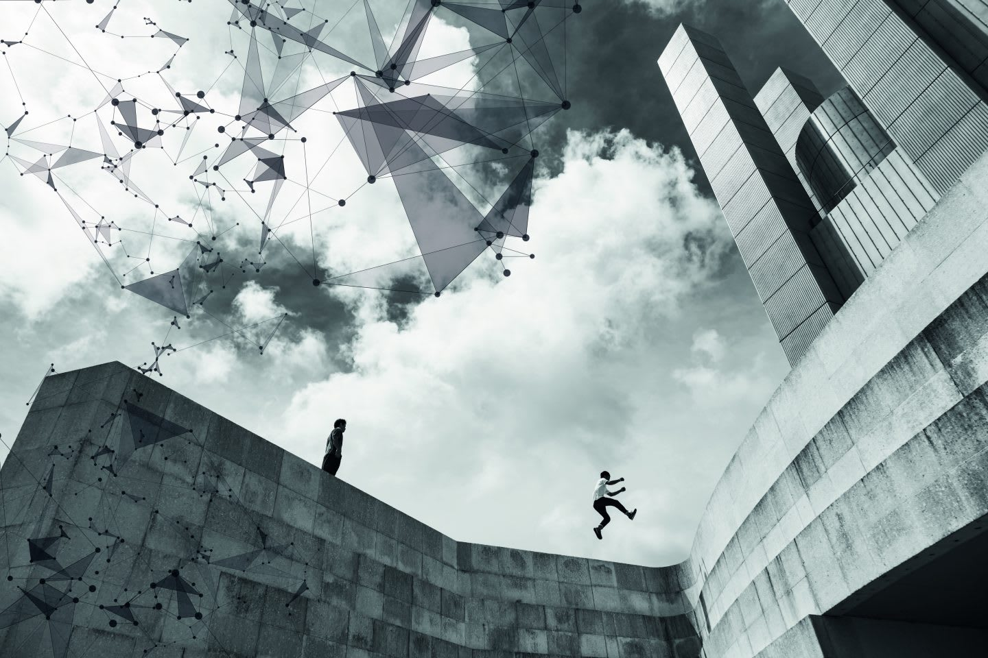A man is leaping between two high walls of a building with a the sky filled with abstract doodles to illustrate the athlete's out-of-the-box thinking.