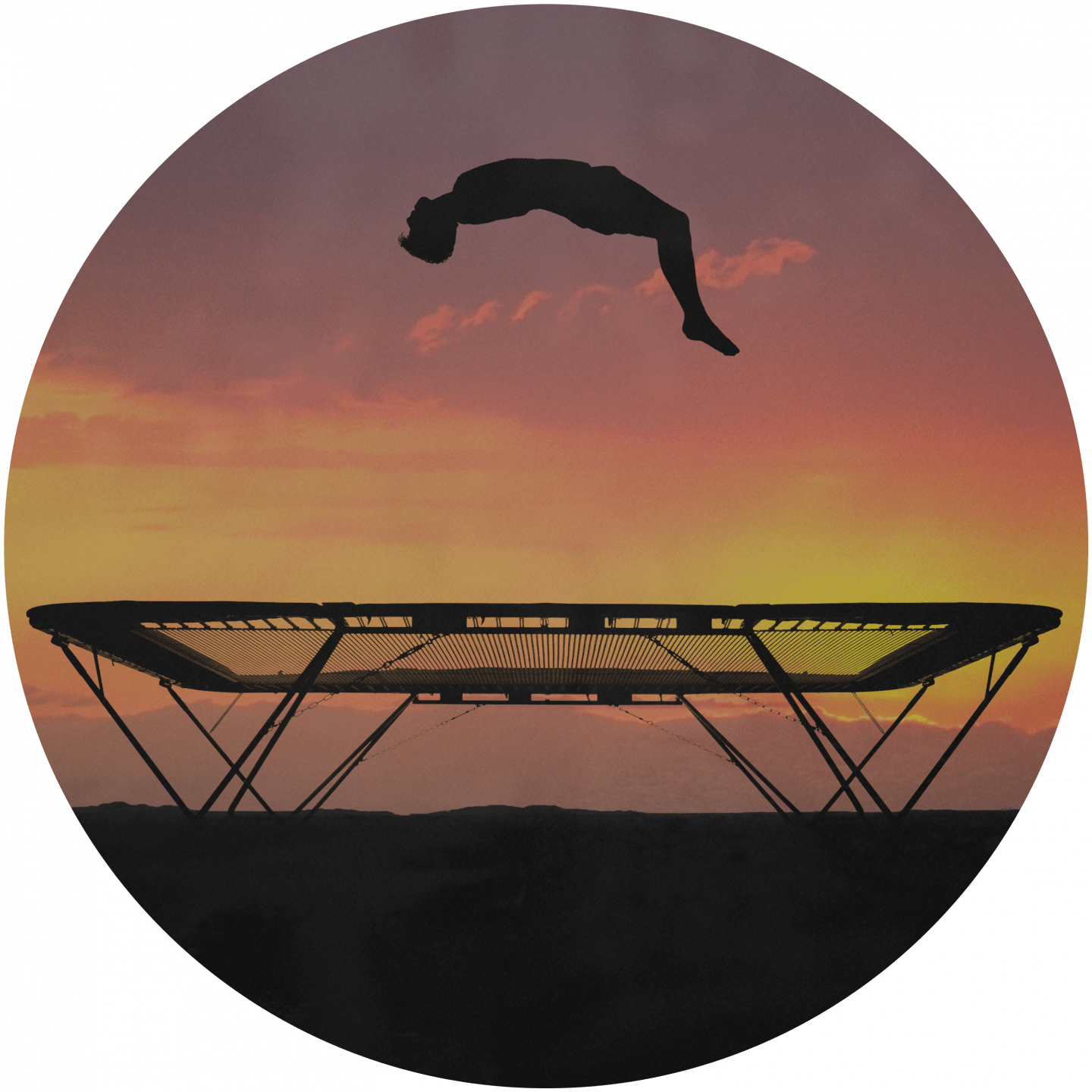 A man jumping on an olympic trampolin in front of a sunset scenery. team building, team event, business, adidas, GamePlan A, jump, sunset, trampolin, fun