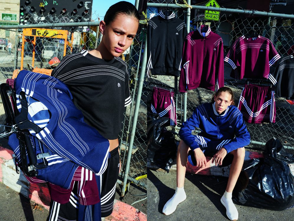 Two models pose in an urban area wearing and carrying adidas clothes. Alexander Wang; Style; Design; Designer; Collaboration; Rocco Richie; Collection; Style; GamePlan A