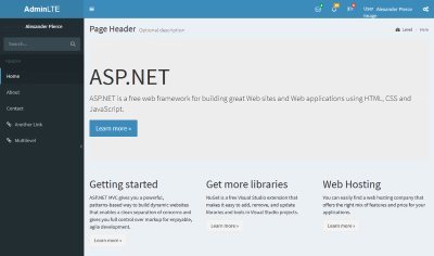 Visual Studio MVC Project Website with AdminLTE template home page