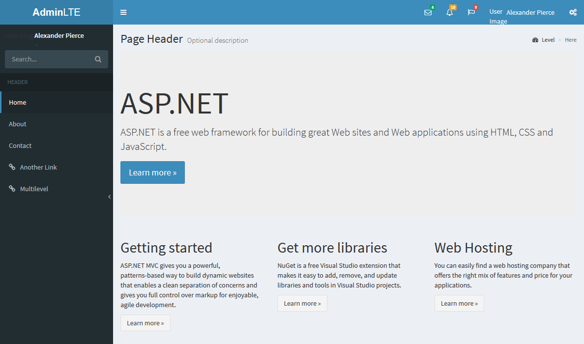 Asp net mvc installing adminlte dashboard to replace for Login page in asp net template