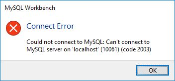MySQL error - could not connect to MySQL - error code 10061 2003