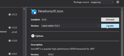 ASP.NET MVC Project NuGet Package Manager - Updating Newtonsoft Json Version