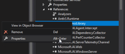 Visual Studio - reference properties