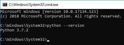 cmd - python install test