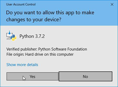 python install allow this app to make changes to your device