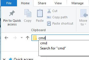 windows explorer running cmd