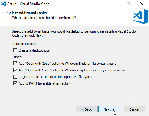 visual studio code install - select additional tasks