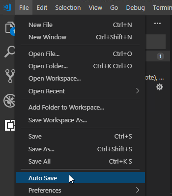 visual studio code - auto save toggle