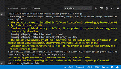 visual studio code - linter pylint installed