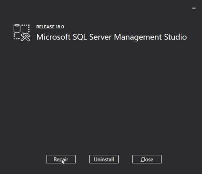 microsoft sql server management studio 18 repair option