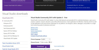 Visual Studio Community ISO download