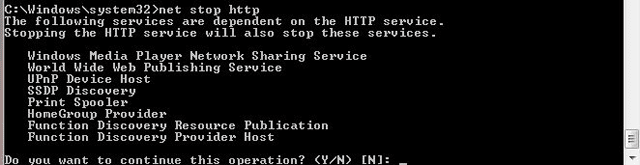 Using net stop http command to get a list of services that depend on http service.