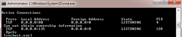 Using netstat command to show PID 4 with port 80