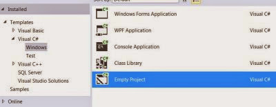 VS Express 2013 for Desktop : Project Types - Visual C# Windows options