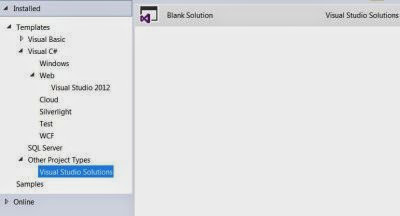 VS Express 2013 for Web : Project Types - Visual Studio Solutions option