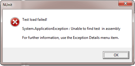 NUnit GUI Error message