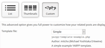 YARPP plugin settings - display custom options