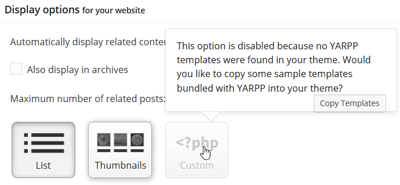 YARPP plugin settings - display options with custom option disabled
