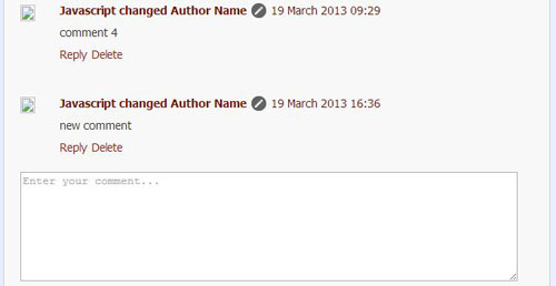 Author name modification using Javascript in default Blogger Comment System