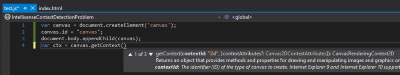 Visual Studio JavaScript Canvas getcontext Intellisense example