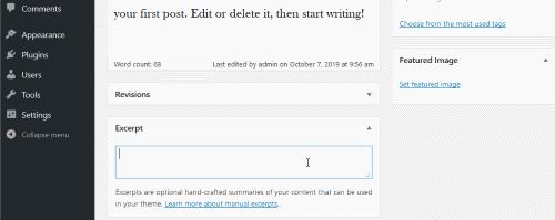 wordpress classic post editor - excerpt metabox field