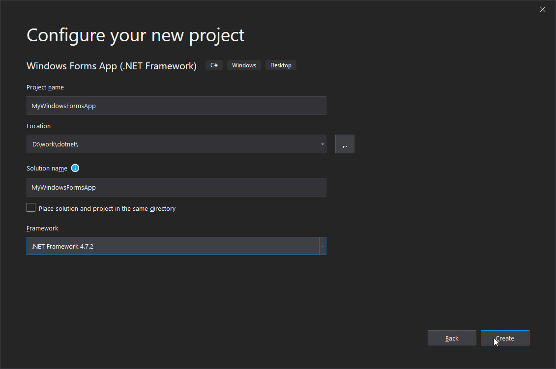 Visual Studio 2019 - configure new project
