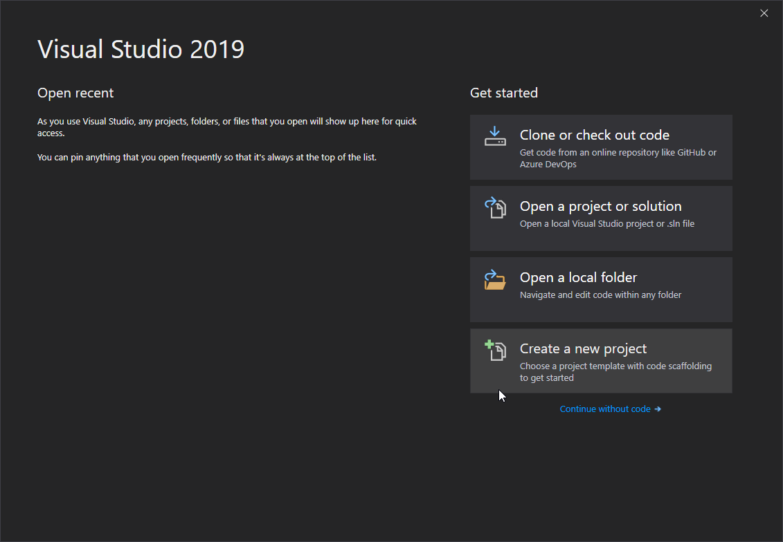 Visual Studio 2019 - create new project