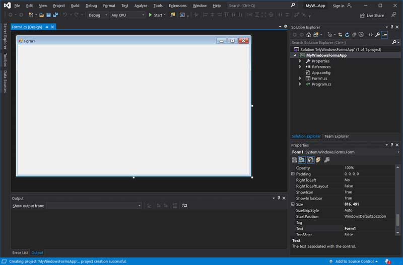 Visual studio 2019 - opened winforms project