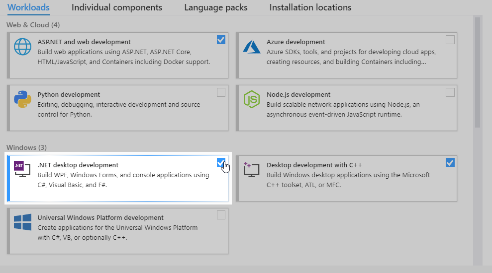 Visual studio 2019 - .NET desktop development workload installation