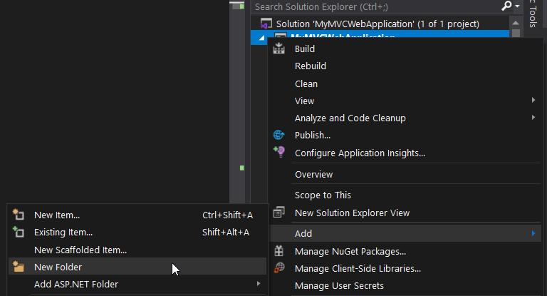 Visual Studio ASP.NET MVC Project - Create new folder