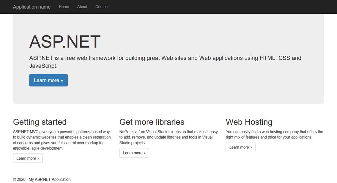 Visual Studio default ASP.NET MVC project - homepage