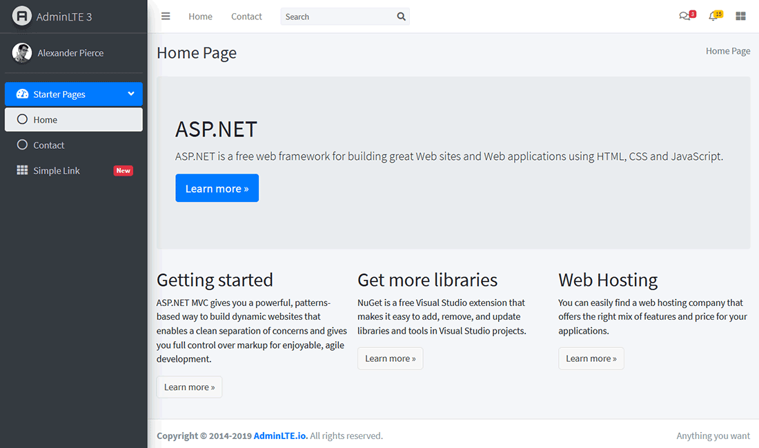 Visual Studio ASP.NET MVC Project Website with AdminLTE template - homepage
