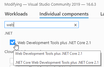 Visual Studio Installer - Individual components tab - search web