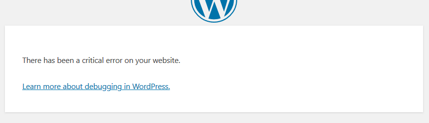 WordPress install - critical error on your website message