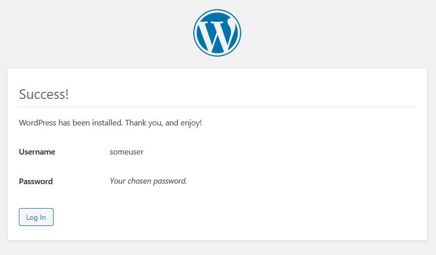 WordPress installation success message
