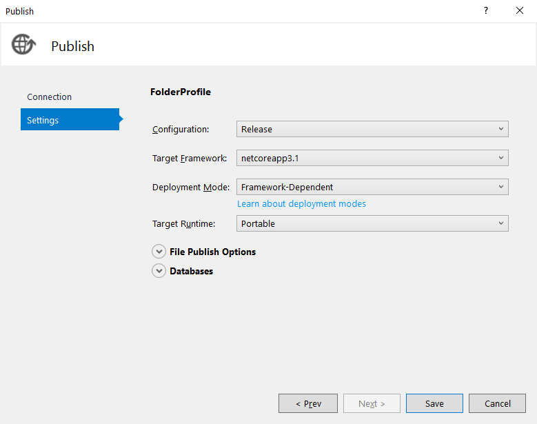 Visual Studio Publish Tool - edit publish settings window