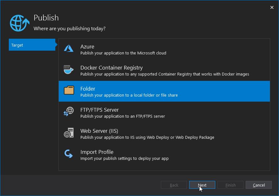 Visual Studio - Publish Tool - Target - list of publishing methods