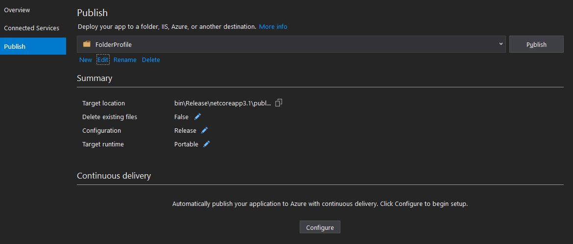 Visual Studio - Publish Tool - Publish Settings