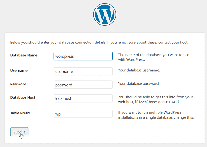 WordPress installation step - enter databaase information