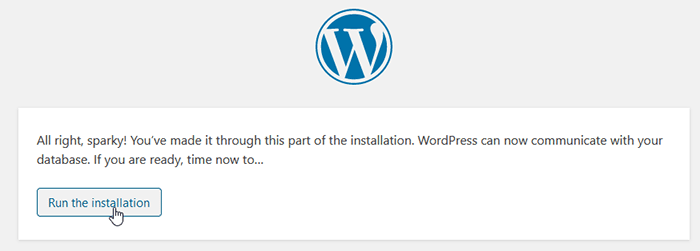 WordPress installation step - run the installation