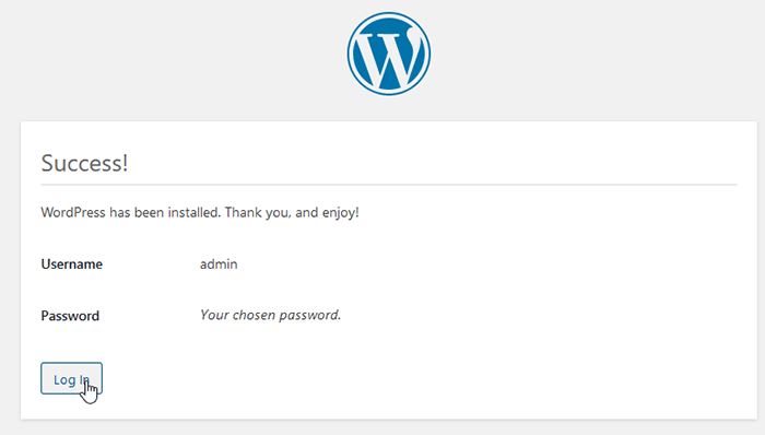 Wordpress Installation step - installation completed successfully