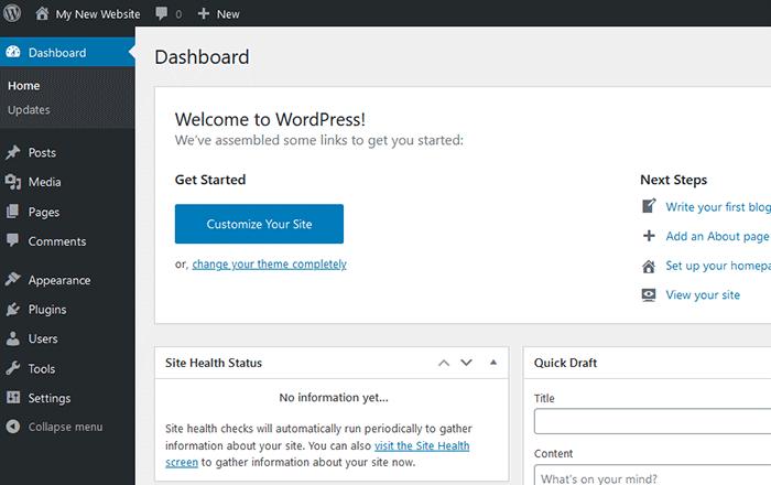 Wordpress- Dashboard after login
