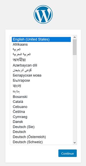 WordPress installation step - select language