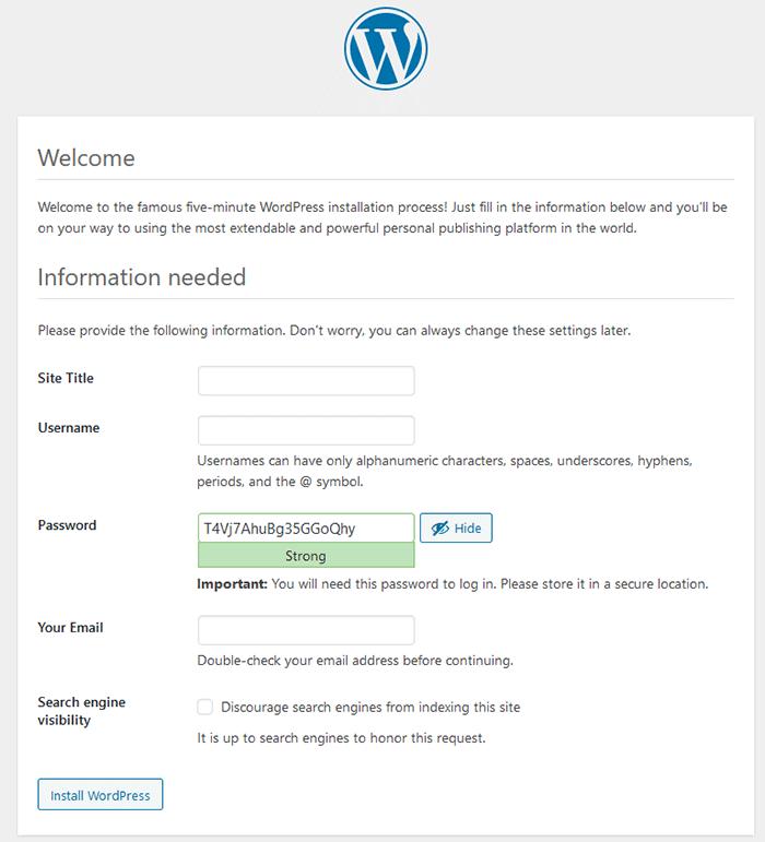 WordPress installation step - enter website information